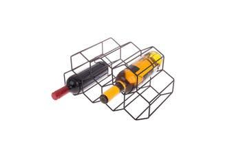 Bartender Hexagonal Wine Rack 9 Bottle Black Organiser Holder Stand Storage