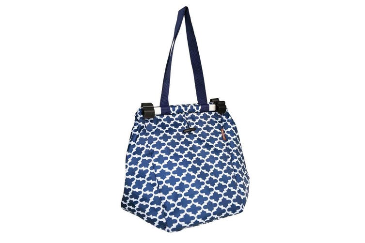 Sachi Shopping Trolley Bag Grocery Portable Carry Tote Moroccan Navy