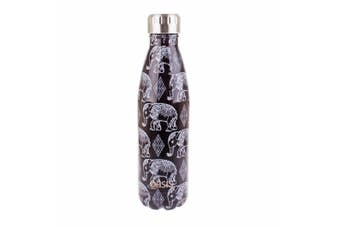New Oasis 500ml Stainless Steel Double Wall Insulated Drink Bottle Boho Elephant