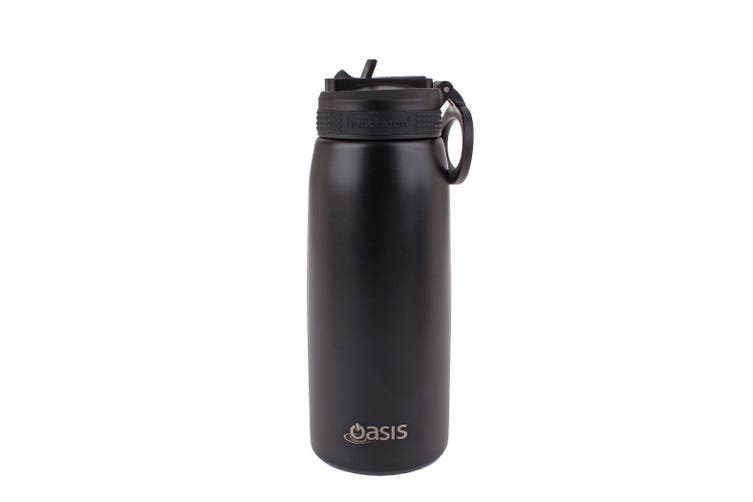 Oasis 780ml Stainless Steel Double Wall Insulated Drink Bottle w/ Straw Black