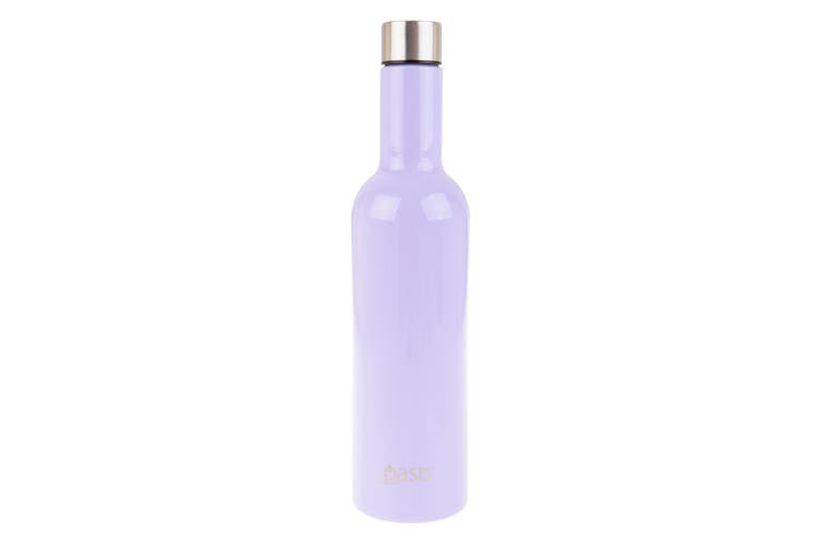 Oasis 750ml Stainless Steel Double Wall Insulated Wine Traveller Bottle Lilac