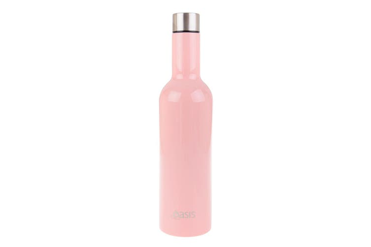Oasis 750ml Stainless Steel Double Wall Insulated Wine Traveller Bottle Pink