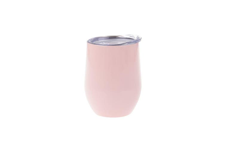 Oasis 330ml Stainless Steel Double Wall Wine Tumbler Water Coffee Cup Soft Pink
