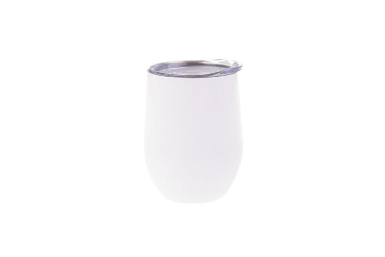 Oasis 330ml Stainless Steel Double Wall Wine Tumbler Water Coffee Mug Cup White
