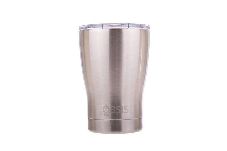 Oasis 350ml Double Wall Insulated Coffee Travel Cup Silver