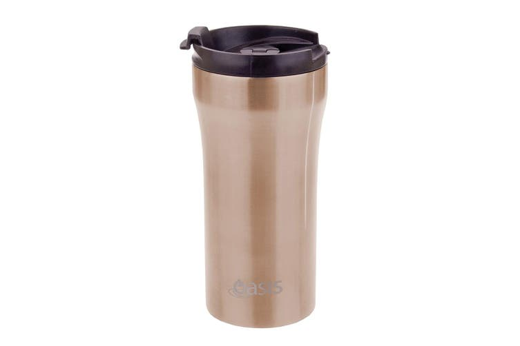 NEW Oasis Stainless Steel  Vacuum Insulated Plunger Travel Cup 350ml Champagne