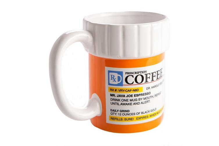 Prescription Coffee Mug - Caffeine Pharmacy Medicine Pills Container Tea Cup