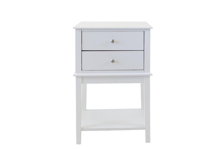Bedside Table Drawer Lamp Side Table Nightstand Unit Storage Shelf White Bedroom
