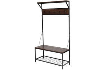 Entryway Stand Coat Rack Hooks Entry Shoe Storage Hall Bench Seat Industrial