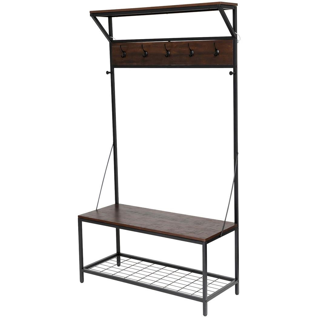 Entryway Stand Coat Rack Hooks Entry Shoe Storage Hall Bench Seat Industrial Matt Blatt