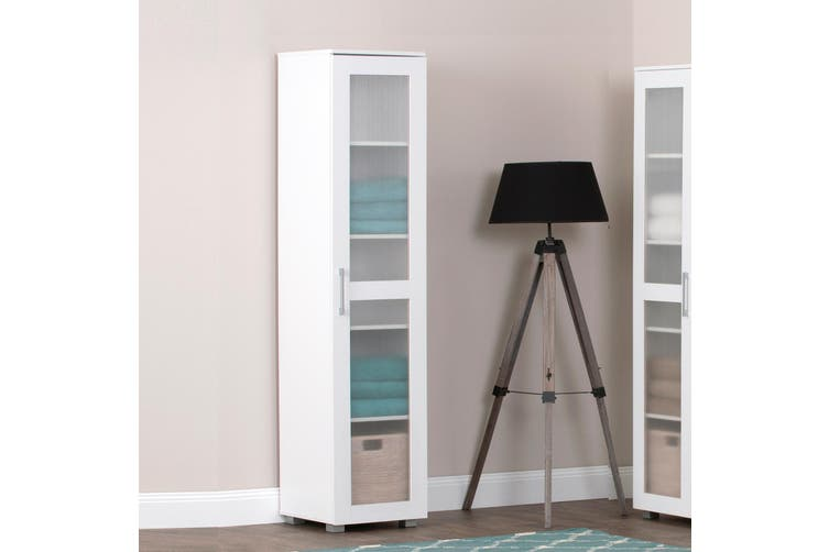 Single Door Tall Storage Cabinet Organiser Shelf Cupboard White Display