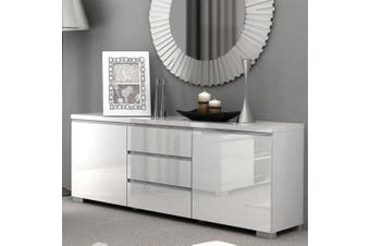 High Gloss Buffet Storage Cabinet Sideboard Dresser Table Cupboard White