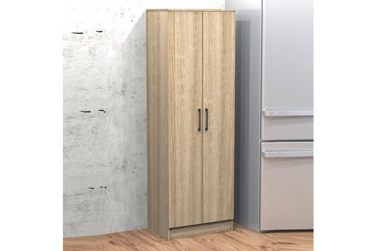 Wooden Cupboard 2 Doors Laundry Kitchen Pantry Broom Cabinet Storage Oak Matt Blatt