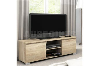High Gloss 2 Compartment 2 Door Entertainment Unit Oak Color TV stand storage