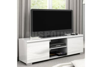 White High Gloss 2 Compartment 2 Door Entertainment Unit TV stand Cabinet
