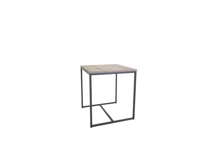 Chevron 48cm Wooden Side Table  Natural Wood Top
