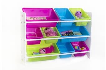 9 Bin 3-Tier Kids Toy Organiser Storage Rack Wooden Shelf Shelves Display Unit