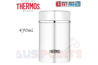 Thermos Food Jar - 470ml Stainless Steel Vacuum Insulated Container WHITE Trim