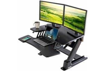EUREKA ERGONOMIC Height Adjustable Desk 36'' Sit Stand Desk Standing Desk Converter Riser with Keyboard Tray Black 2nd Generation