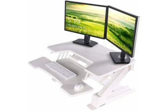 EUREKA ERGONOMIC Height Adjustable Desk 36'' Sit Stand Desk Standing Desk Converter Riser with Keyboard Tray White 2nd Generation