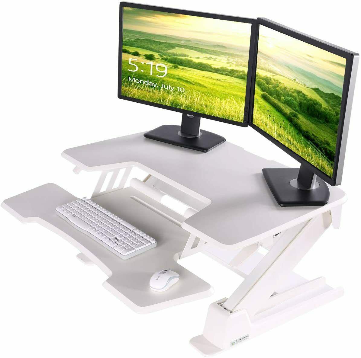Picture of: Eureka Ergonomic Height Adjustable Desk 36 Sit Stand Desk Standing Desk Converter Riser With Keyboard Tray White 2nd Generation Matt Blatt