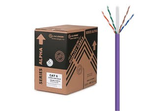 Alogic 305m Purple 23AWG PVC Solid CAT6 Network Cable Unshielded Twisted Pair UTP - C6-305-SL/PVPUR