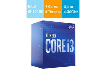 Intel Core i3 10100 CPU 3.6GHz/4.3GHz Turbo LGA1200 10th Gen 4 Cores 8 Threads - BX8070110100