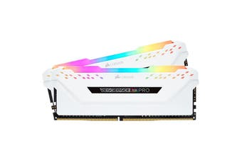 Corsair Vengeance RGB PRO 32GB 2x 16GB DDR4 3000MHz C15 Desktop Gaming Memory White - CMW32GX4M2C3000C15W