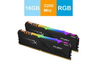 Kingston 16GB HyperX Fury RGB Desktop Memory 3200MHz DDR4 CL16 DIMM (Kit of 2) - HX432C16FB3AK2/16