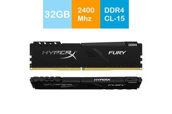 Kingston 32GB HyperX Fury Desktop Memory 2400MHz DDR4 CL15 DIMM (Kit of 2) Black - HX424C15FB3K2/32