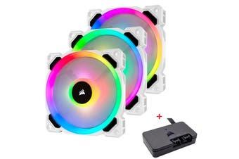 Corsair LL120 RGB 120mm Dual Light Loop White RGB LED PWM Fan Triple Pack with Lighting Node PRO - CO-9050092-WW