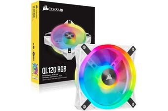 Corsair iCUE QL120 RGB 120mm PWM White Fan Single Pack PC Case Cooling Fan - CO-9050103-WW