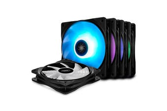 DeepCool Deepcool 120mm High Brightness RGB Fan - 5 Fans & 2 Fan Hubs, Sync Cable - DP-FRGB-RF120-5C-M