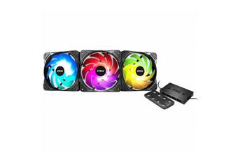 MSI Max F12A-3H 120mm Triple Pack Addressable RGB Fan with Controller/RF Remote - MSI MAX F12A-3H