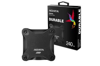 Adata 240GB Ultra-Speed External Solid State Drive Shock Resistance USB3.1 Black - ASD600Q-240GU31-CBK