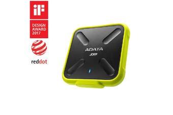 Adata SD700 256GB Rugged Water/Dust/Shock Proof External SSD 3D NAND Yellow - ASD700-256GU31-CYL