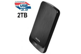 Adata HV320 2TB Slim External Hard Drive HDD Shock Protection USB 3.2 Gen1 Black - AHV320-2TU31-CBK