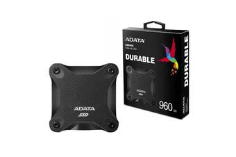 Adata 960GB Ultra-Speed External Solid State Drive Shock Resistance USB3.1 Black - ASD600Q-960GU31-CBK