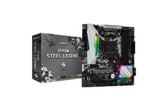 ASRock B450M Steel Legend Motherboard AMD AM4 Micro-ATX DisplayPort HDMI Output - B450M-STEEL-LEGEND