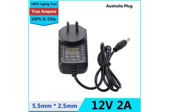 DC 12V 2A 5.2x2.5mm Power Supply Adapter Charger for LED Light Camera Enclosure