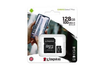 Kingston 128GB MicroSD SDHC SDXC Class10 UHS-I Memory Card with SD Adaptor - SDCS2/128GB