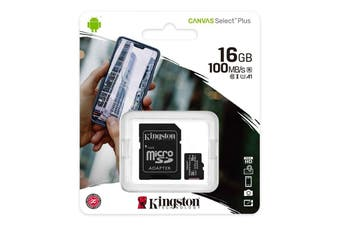 Kingston 16GB MicroSD SDHC SDXC Class10 UHS-I Memory Card with SD Adaptor - SDCS2/16GB