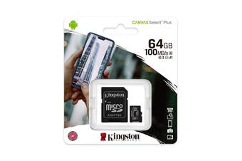 Kingston 64GB MicroSD SDHC SDXC Class10 UHS-I Memory Card with SD Adaptor - SDCS2/64GB