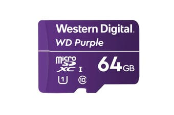Western Digital WD 64GB Purple Micro SDXC Card for 24/7 Surveillance Camera - WDD064G1P0A