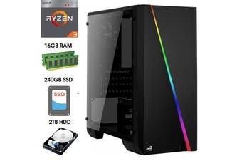 ATG Cylon Mini RGB AMD Ryzen 3 16GB RAM 240GB SSD + 2TB HDD Windows 10 Gaming Computer System Office Desktop PC - R33200-16G2T-RGB-CYLONMN