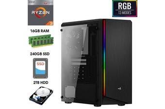 ATG RIFT RGB AMD Ryzen 3 16GB RAM 240GB SSD + 2TB HDD Windows 10 Gaming Computer System Office Desktop PC - R33200-16G2T-RGB-RIFT
