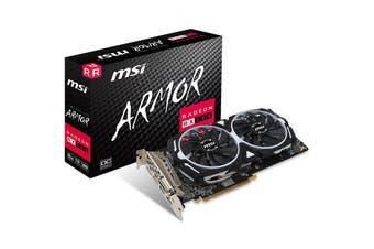 MSI AMD RX 580 ARMOR 8GB OC Video Card GDDR5 2xDP/2xHDMI/DVI CF VR Ready 1366MHz - RX 580 ARMOR 8G OC