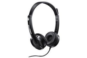 RAPOO H100 Wired Stereo Headsets - HD Voice Rotary Microphone Volume Adjustment 3.5mm