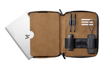 HP Elite Notebook Portfolio - Fit Notebooks up to 14.0' diagonal, Genuine Split Grain Leather, Micro Suede Interior, Notebook Cover, Carry Case