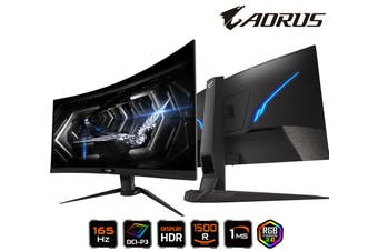 GIGABYTE AORUS CV27Q-AP 27' Curve Tactical Gaming Monitor FHD 165Hz 1ms AMD FreeSync 1500R DCI-P3 HDR RGB 8bits Tilt Swivel Height Adjust HDMI DP USB